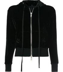 unravel project velour basic zip hoodie - black