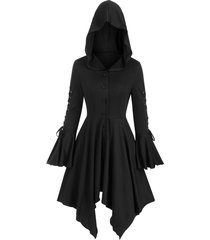 hooded lace-up poet sleeve button up hanky hem skirted gothic coat