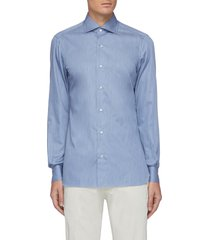 denim effect spread collar cotton shirt