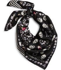women's alexander mcqueen jewel & button print silk scarf, size one size - black