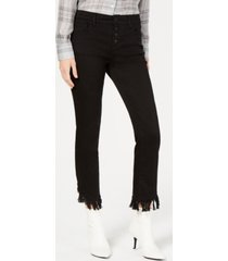 inc fringe-hem button-front straight-leg jeans, created for macy's