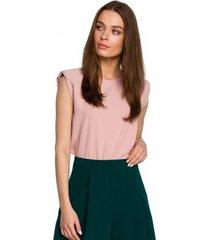 blouse style s260 mouwloze blouse met gewatteerde schouders - poeder