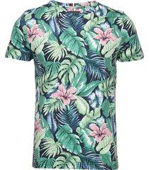 all over flower print tee t-shirts short-sleeved grön tommy hilfiger