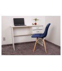 kit escrivaninha com gaveteiro branca + 01 cadeira botonê veludo - azul marinho