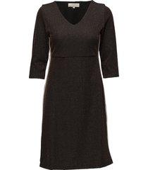 holly dress - overknee 3/4 sl knälång klänning brun cream