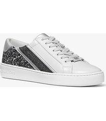 mk sneaker slade a righe con logo e glitter - light slate - michael kors