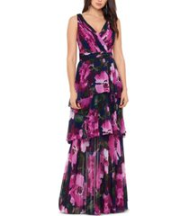 xscape floral-print tiered gown