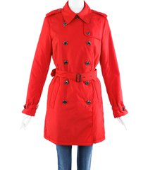 burberry red belted trench coat red sz: s