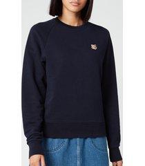 maison kitsuné women's sweatshirt fox head patch - navy - m