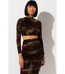 akira snake around mesh long sleeve top