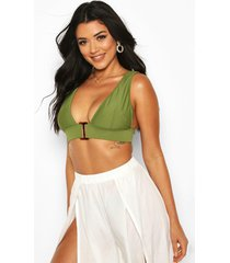 mix & match buckle fuller bust triangle top, khaki