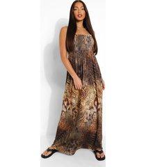 tall geplooide strapless dierenprint maxi jurk, black