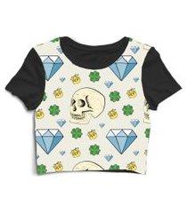 blusa blusinha cropped tshirt camiseta diamante caveira cactos coroa preto