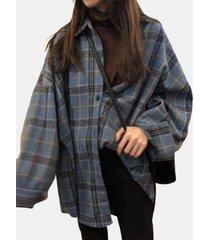camicette casual da donna a maniche lunghe con bottoni con stampa scozzese