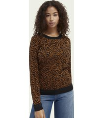 scotch & soda intarsia-gebreide katoenen sweater