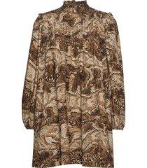 printed cotton poplin korte jurk bruin ganni