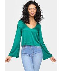 blusa cantão manga longa sino decote v - feminino