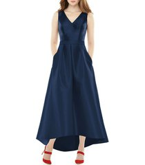alfred sung satin high/low gown, size 0 in midnight at nordstrom