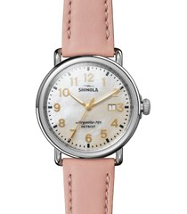 shinola runwell leather strap watch, 41mm in nude/white/silver at nordstrom