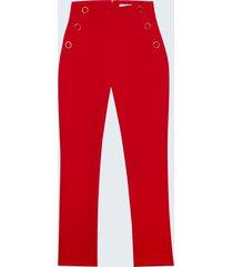 motivi pantaloni skinny con bottoni donna rosso