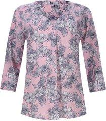 blusa 3/4 flores blancas color rosado, talla m