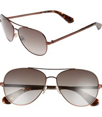 women's kate spade new york avaline 58mm aviator sunglasses - brown havana