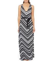 women's la blanca archistripe cover-up maxi dress, size large - black