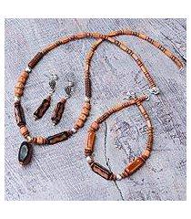 ceramic and carnelian beaded jewelry set, 'inca fire' (peru)