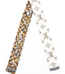 louis vuitton giant jungle bandeau scarf cream multicolor silk cream/multicolor/animal print sz: