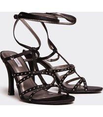 motivi sandali alti con borchie donna nero