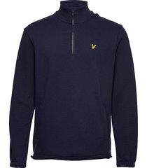 1/4 zip pique sweatshirt knitwear half zip jumpers blå lyle & scott