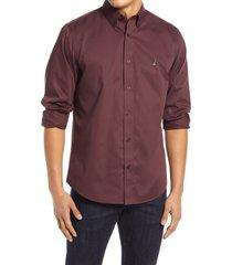 men's nordstrom mens shop smartcare(tm) traditional fit twill boat shirt, size large - burgundy