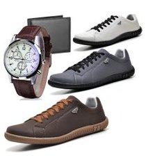 kit 03 pares de sapatênis casual com cadarço com carteira e relógio dubuy 920db marrom, cinza e gelo/branco
