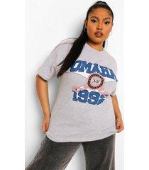 plus oversized omaha t-shirt, grey marl