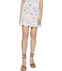 bcbgeneration smocked textured-floral flounce mini skirt