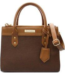 bolsa maria verônica quadrada com chaveiro couro estampado marrom 5128