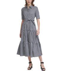 calvin klein plaid tiered maxi dress