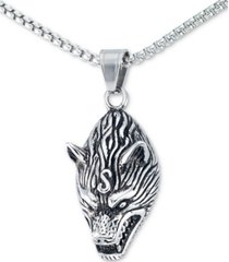 "legacy for men by simone i. smith men's wolf head 24"" pendant necklace in stainless steel"