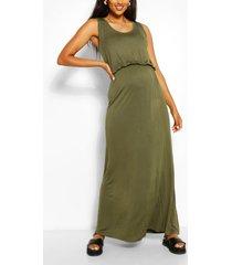 maternity scoop neck shirred maxi dress, khaki