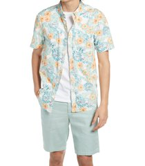 men's chubbies the flower the leader floral short sleeve button-down shirt, size large - ivory