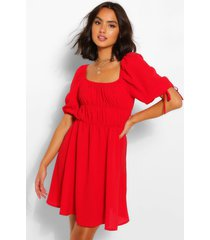 balloon sleeve smock dress, red