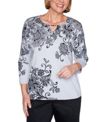 alfred dunner petite cotton printed keyhole sweater