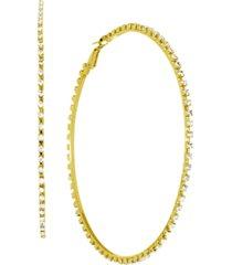"""essentials cubic zirconia large skinny hoop earrings, 3.54"""""""