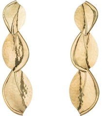 brass leaf trio clip earrings, women's, josie natori