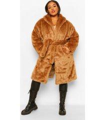 plus luxe faux fur jas met grote kraag en ceintuur, camel