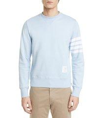 men's thom browne stripe sleeve sweatshirt, size 1 - blue
