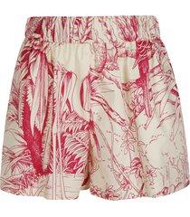 red valentino ribbed waist printed shorts