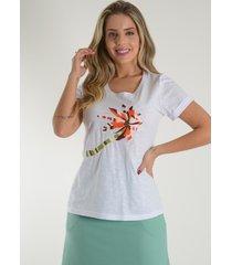 blusa mamorena t-shirt bordada linha branco - kanui