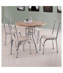 conjunto de mesa de jantar com 4 cadeiras caribe i linho carvalho e bege