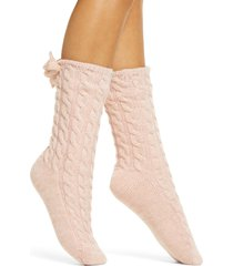 women's ugg laila bow fleece lined socks, size one size - pink